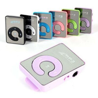 Wholesale mp3 players resale online - Mini Mirror Clip USB Digital MP3 Music Player Support SD TF Music Play with TF Card Slot mm Earphone Jack