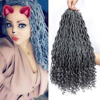 ingrosso proiezioni ondulate dei capelli di treccia-20inches Faux Locs Crochet Hair Deep Wave Intrecciare i capelli con estremità ricce Goddess Locs Twist Ricci ondulati sintetici Intrecciare le estensioni dei capelli