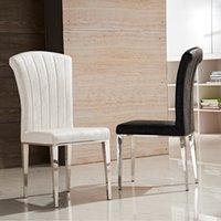ingrosso mobili di soggiorno di lusso-Sedie da pranzo in pelle di alta qualità in acciaio inox di lusso in pelle bianca e nera sedia alta elastico posteriore sedie da pranzo mobili soggiorno