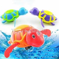 çocuklar havuzları toptan satış-Yeni Rüzgar-up Kaplumbağalar Oynamak Yüzme Oyuncak Su Çocuklar Banyo Havuzu Küvet Hayvanlar Sondaj Oyuncaklar Yüzmek Clockwork