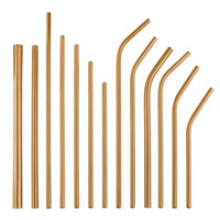 Wholesale gold colored stainless steel for sale - Group buy Rose Gold Straight and Bend Reusable Stainless Steel Drinking Straws Metal Colored Straw Party Wedding Family Kitchen Bar Drinking Tools