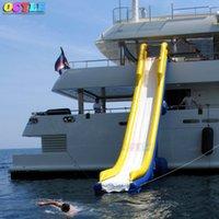 venta de diapositivas inflables al por mayor-CALIENTE Precio de fábrica inflable flotante inflable para barco, diapositiva inflable gigante del yate en venta con el marco