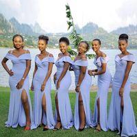 Wholesale wedding guest dress resale online - Cheap Lavender Simple Mermaid Bridesmaid Dresses Long Off Shoulder Spaghetti Strap Front Split Wedding Guest Dresses Maid Of Honor Dress