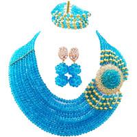 jubiläumsarmband ohrringe halskette großhandel-Beautiful Lake Blue Anniversary Gift Frauen Kristall Perlen Halskette Ohrringe Armband Sets 10C-DPH-13