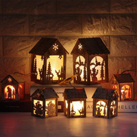 Wholesale New Year Christmas Led Luminous Cabins Pendant Table Cabins Pendant Ornaments Christmas Decoration For Home Enfeite De Natal