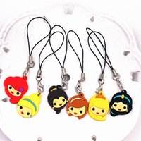 Wholesale princess key resale online - 6PCS Mix Princess Series Jasmine Princess PVC Soft Key Ring Rope Key Chain For Decoration On Backpack Party Gifts