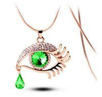 Wholesale charming eyelashes for sale - Group buy Choker Necklace For Women Women Statement Necklaces Gems Blue Eyes Eyelash Tear Pendant Necklace
