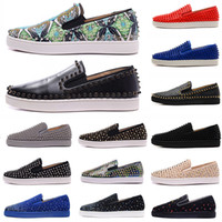 Wholesale new suede dress shoes resale online - Top Quality New Arrival Red Bottoms Mens Women Shoes Fashion Luxury Suede Leather With Studded Spikes Loafers Rivets Casual Dress Flats