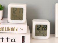 Wholesale led lighted cube tables resale online - NEW LED Colors Changing Digital Alarm Clock Desk Gadget Digital Alarm Thermometer Night Glowing Cube LCD Clock Desk Table light
