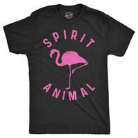 camiseta negra rosa para hombre al por mayor-Mens Flamingo Spirit Animal Tshirt Funny Pink Bird Tee Para Chicos (Heather Black) Cool Casual orgullo camiseta hombres