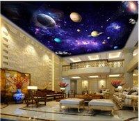 lila tapete für wohnzimmer großhandel-Kundenspezifische große 3d fototapete 3d decke wandbilder wallpaper lila fantasie milchstraße starry raum wohnzimmer decke zenith wandbild
