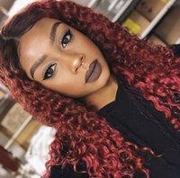 perruques de dentelle brésilienne de haute qualité achat en gros de-Ombre Cheveux Vierge brésilienne T1B 99j bouclés pleine dentelle perruques de cheveux humains avec bébé cheveux 150% Densité de haute qualité Lace Front Wigs