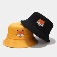 Wholesale red fox hats resale online - Women Summer Bucket Hats Cute Animal Fox Embroidery Print Outdoors Stingy Brim Hats Visors Fisherman Caps Casual Sun Hat Foldable Boonie Cap