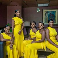 Wholesale customized sashes for sale - Group buy 2020 African Girl Yellow Simple One Shoulder Mermaid Bridesmaid Dresses With Sash Custom Made Satin Maid Of Honor Gowns With Sweep Train