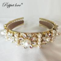 Wholesale prom queen tiara resale online - Gold Prom Accessories Baroque Queen Women Crown Round Imperial Medieval Gold Rhinestone Tiara Y19051302
