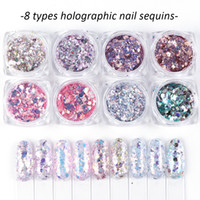 Christmas 8Box Set Holographic Nail Glitter Set Powder Nail Art Pigment DIY Flake Nail Art Decorations Dust Gel Manicure Pigment
