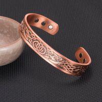 Wholesale bracelet energy cuff online - Vinterly Pure Copper Bracelet Mens Vintage Health Energy Magnetic Open Cuff Wide Bracelets Bangles For Arthritis Can Adjustable