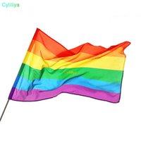 drapeaux colorés achat en gros de-Drapeau Arc En Ciel 3x5FT 90x150cm Lesbian Gay Pride Polyester LGBT Drapeau Bannière Polyester Coloré Drapeau Arc En Ciel Pour La Décoration 3 X 5FT