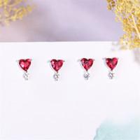 jóias de pedra coreana venda por atacado-2019 925 sterling sliver heart red stone stud brincos para as mulheres de cristal moda jóias brinco coreano moda frete grátis
