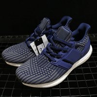 Wholesale comfortable knitted shoes resale online - Fly Knit Breathable Ultra Running Shoes Mens Dark Blue Comfortable Designer Sneakers Fashion Sports Trainers High Quality
