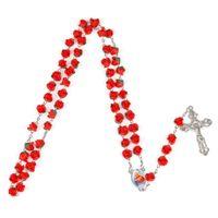 collar de coral de china al por mayor-Collar de diseño de perlas de perlas de imitación Color de rosa Flor Rosario Rosarios Católico Collar Crucifijo cruz colgante de joyería de moda