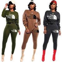 pijama tozlukları toptan satış-Kadınlara Kuzey Baskılı Uzun Kollu Kıyafetler T Gömlek Pantolon Tayt Pijama Suits Casual Eşofman İki Adet Set Ter Suits C112203 Face