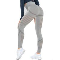 pantalones de fitness de yoga al por mayor-Mallas sin costuras Malla Pantalones de yoga para mujer Medias de deporte de cintura alta Pantalones deportivos de entrenamiento de punto Push Up Pantalones de entrenamiento