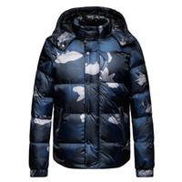 erkek kışlık giyim ceketleri toptan satış-Kış Erkek Tasarımcı Ceket Uzun Kollu Kamuflaj O Boyun Kontrast Renk Erkek Giyim Moda Erkek Mont
