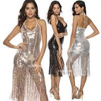 sexy mini rock großhandel-2019 Mode sexy trägerlosen Rock Club Kleider Pailletten Party Kleider rückenfreies Kleid engen Rock Kleid mit Fransen atmungsaktiv komfortabel