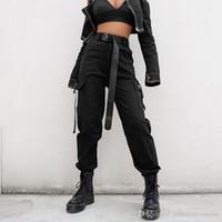 pantalones sueltos de mujer estilo coreano al por mayor-Streetwear Cargo Pants Mujer Casual Joggers Negro de cintura alta Pantalones flojos para mujer Estilo coreano Pantalones para mujer Capri