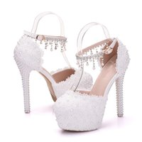 Wholesale pink bridesmaids sandals resale online - White Lace Flower Bridesmaid Platforms High Heel Sandals Buckle Straps Beading Tassel Lace Wedding Dress Shoes Party Prom Heels