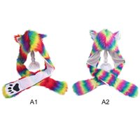 Wholesale earmuff warmer for sale - Group buy 1PC Winter Warm Plush Faux Fur Animal s Hat Hoods Gloves Scarf Costume Warm Earmuff Animal Cap with Scarf Glove