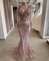 frisado vestido formal rosa manga longa venda por atacado-Luxo empoeirado rosa lace appliqued sereia vestidos de baile vintage mangas compridas lantejoulas frisado vestido de noite longo formal festa pageant vestido