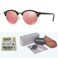 lentes de sol con lentes de flash al por mayor-Diseñador de la marca de alta calidad Gafas de sol redondas Hombres Mujeres Gafas de sol Marco de tablón Flash Espejo Lente de vidrio con caja y etiqueta al por menor