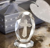 Wholesale first communion gifts for sale - Group buy Wedding Favors Crystal Cross Standing Baby Christening Gifts Baby Shower Favor First Communion Gift