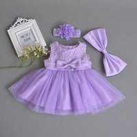 vestidos infantiles para boda púrpura al por mayor-Vestido para niñas bebés Ropa de flores de encaje morado Vestido de fiesta de boda Menina recién nacida Vestidos de fiesta de cumpleaños de 1 año Vestido de bautismo infantil