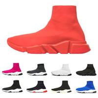 sapatas verdes do brilho venda por atacado-Atacado Designer de Velocidade Trainer Luxo sapatos Casuais preto branco glitter vermelho verde Moda Plana Meias Sapatilhas Formadores Corredores