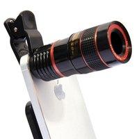cep telefonları için yakınlaştır toptan satış-12X Cep Telefonu Harici Kamera Lens Evrensel Klip Teleskop HD Harici Telefoto Lens Değiştirme Tele Lens Optik Zoom Cep Telefonu Kiti