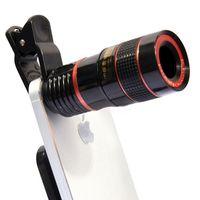 reemplazos de teléfonos celulares al por mayor-12X Teléfono Móvil Lente de la Cámara Externa Clip Universal Telescopio HD Teleobjetivo Externo Reemplazo de Lente Tele Zoom Óptico Kit de Teléfono Celular