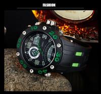 zeitstoppuhr groihandel-OHSEN elektronische Dualzeit-Männer Armbanduhr Digital Quarz Wasserdichte Sport-Gummi-Mann-Uhr Grün Stoppuhr Uhr reloj hombre