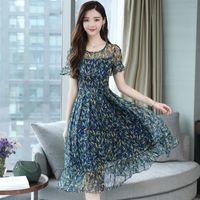 vestido de fiesta coreano de gasa al por mayor-3xl Plus Size Summer Floral Chiffon Boho Sundress 2019 Korean Elegant Women Beach Midi Vestidos Casual Party Club Dress Vestidos