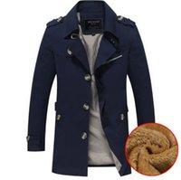 nylon casaco de inverno trincheira venda por atacado-5XL Mens Inverno Quente Designer Plus Trench Coats de Veludo Lapela Pescoço Manga Comprida Cor Sólida Outono Homme Roupas Plus Size Vestuário
