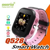 relojes de pulsera gsm al por mayor-Inteligente reloj de pulsera Q528 niños Kid SOS GSM Localizador Rastreador de seguridad Anti-Perdida SmartWatch Child Guard para iOS Android