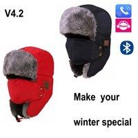 beanie dhl toptan satış-Yeni Sonbahar Kış Sıcak Beanie Hat Kablosuz Bluetooth Akıllı Kap Kulaklık Kulaklık Hoparlör Mic Bluetooth Şapka kadın ve erkek için DHl ücretsiz