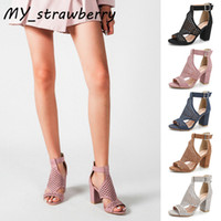Wholesale shoes cutouts for sale - Group buy Sandals Womens Summer New European And American Style Cutout Peep Toe Shoes Chunky Heel Large Size Shoes Heel height CM