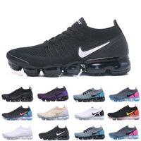 ingrosso scarpe marrone vestito blu-Nike Vapormax air max airmax 2019 Knit 2.0 1.0 Fly Running Shoes Uomo Donna Bianco Vasto Grigio Dusty Cactus Oro BHM Designer Scarpe Sneakers Scarpe da ginnastica 36-45