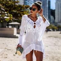 maillots de bain longs achat en gros de-Été Femmes Dentelle Crochet Maillot De Bain Bikini Cover Up Sexy Beach Wear Nager Robe Longue Paréo Plage Maillot De Bain Tunique Sarongs Kaftan