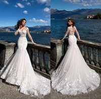 Wholesale wedding sweep tiered dresses resale online - 2019 Lace Mermaid Wedding Dresses Sheer Long Sleeves Applique Seen Through Back Plus Size Wedding Bridal Gowns With Buttons BA8521
