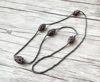 ovaler hämatitstein großhandel-4 Stränge Naturstein Pflastern Strass Kristall Oval Perle und Hämatit Perlen Halskette Für Frauen Schmuck NK424