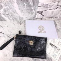 carteira da bolsa de couro venda por atacado-Bolsas de alta qualidade Sacos de Embreagem Carteira Marcas Moda Couro De Couro Preto Real bolsa